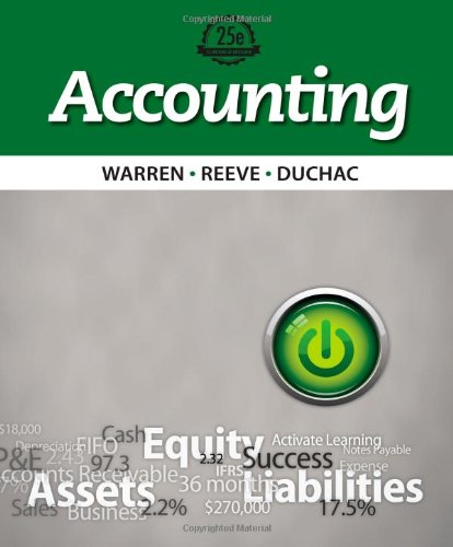 Accounting 25th Edition By Warren, Reeve, Duchac - Test Bank