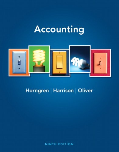 Accounting 9th Edition By Horngren, Harrison, Oliver - Test Bank