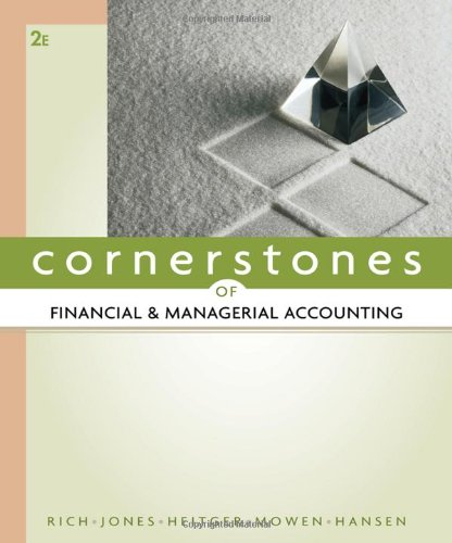 Cornerstones of Financial and Managerial Accounting 2nd Edition By Rich, Jones, Heitger, Mowen, Hansen - Test Bank