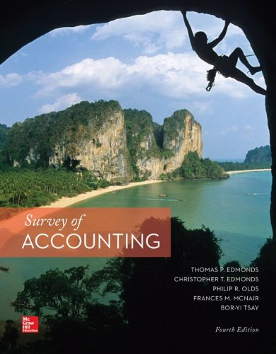 Survey of Accounting 4th Edition By Edmonds, Edmonds, Virginia, McNair, Tsay - Solution Manual