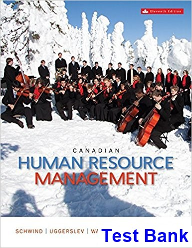 Canadian Human Resource Management Canadian 11th Edition Schwind Test Bank
