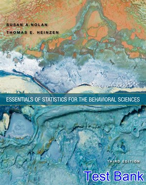 Essentials of Statistics for the Behavioral Sciences 3rd Edition Nolan Test Bank