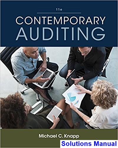 Contemporary Auditing 11th Edition Knapp Solutions Manual